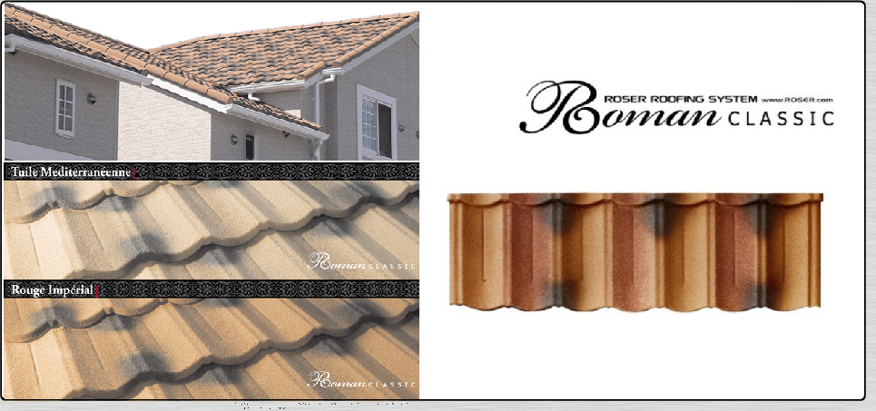 tuile metallique roman classic fabricant roser de tuile acier et d 39 accessoire de couverture. Black Bedroom Furniture Sets. Home Design Ideas
